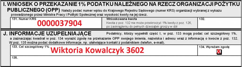 PIT37 wzór Przekaż 1% podatku dla Wikusi www.wikusia.pl