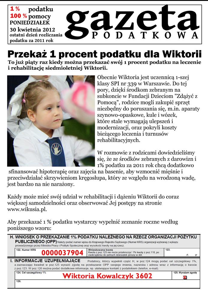 Przekaż 1% podatku dla Wikusi www.wikusia.pl